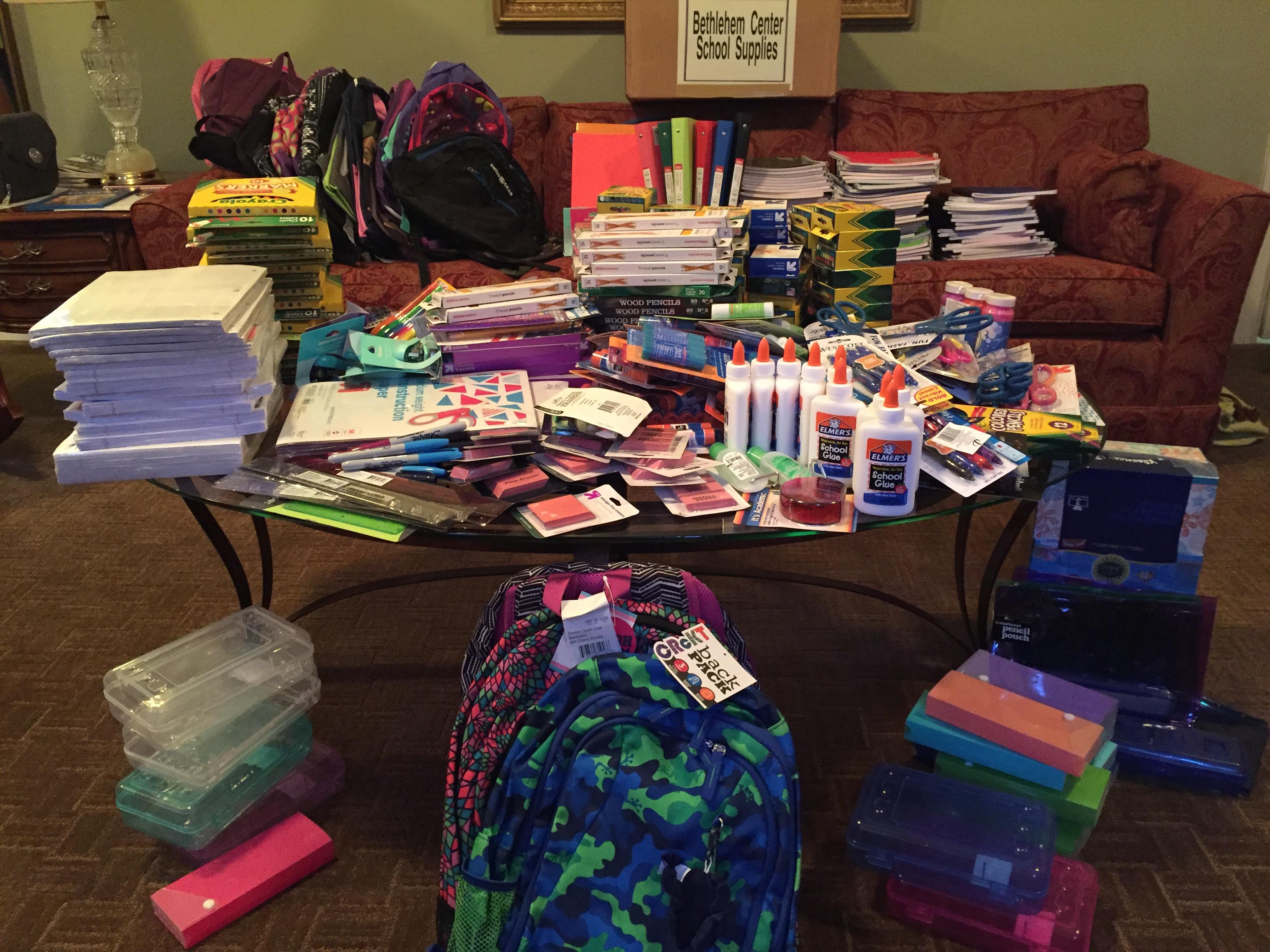 Bethlehem Center supplies 2016